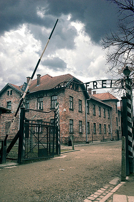 The entrance to Auschwitz, taken in 2014.