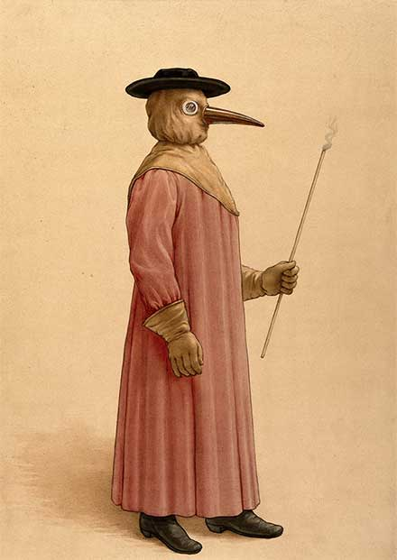 A physician wearing a seventeenth century plague preventive costume.